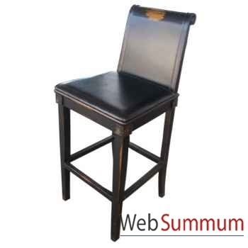 Tabouret de bar noir vieilli assise cuir eastern style Chine -C0564