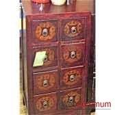 colonne cd 8 tiroirs rouge noire style chine c0919