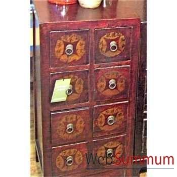 colonne CD 8 tiroirs rouge noire style Chine -C0919