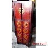 colonne double cd 8 tiroirs 2 portes style chine c0953
