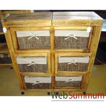 Meuble polonia 6 casiers rotin tissus écru avec roulette à dédoubler style Chine -C2201W