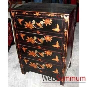 Chiffonnier 4 tiroirs laqué noire fleurs style Chine -CHN004N