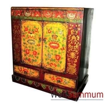 Coffre Armoire 2 portes et 2 tiroirs tibet style Chine -C0654