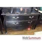 commode francaise 2 tiroirs pied louis xvi laque noire style chine c2312n
