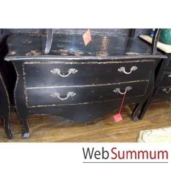 Commode francaise 2 tiroirs pied Louis XVI laqué noire style Chine -C2312N