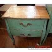 commode 2 tiroirs bleu turquoise plateau style chine c2307bl