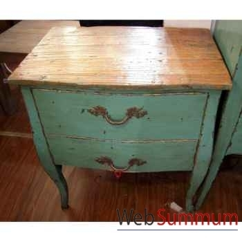 Commode 2 tiroirs bleu turquoise plateau style Chine -C2307BL