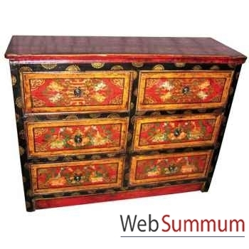Commode 6 tiroirs tibetain style Chine -C0389