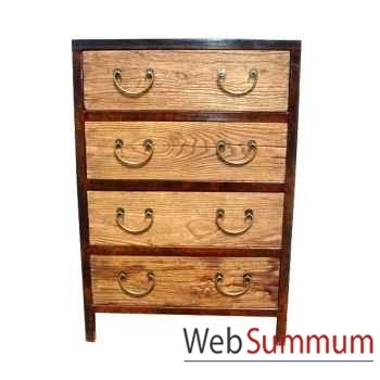 Commode 4 tiroirs fer et vieil orme brut style Chine -C0961