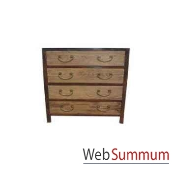 Commode 4 tiroirs fer et orme brut style Chine -C0963