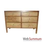 commode 6 tiroirs fer et vieiorme brut style chine c0966