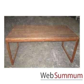 Table rectangulaire fer et vieil orme brut style Chine -C0968