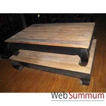 Table opium structure laque noire plateau style Chine -C2300N-NAT