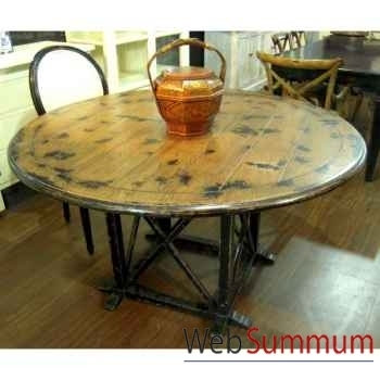 Table ronde pied laque noir plateau style Chine -C2302N-NAT
