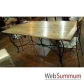 table de repas pied fer forge plateau style chine c2304nat