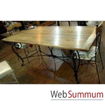 Table de repas pied fer forge plateau style Chine -C2304NAT