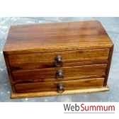 coffret bois 3 tiroirs avec poignee anneau en fer meuble d indonesie 53200