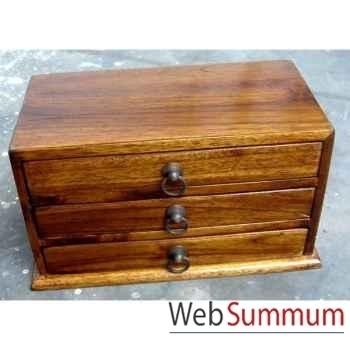 Coffret bois 3 tiroirs avec poignée anneau en fer Meuble d'Indonésie -53200