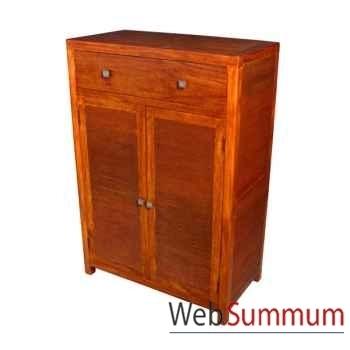 Petite armoire de 2 portes et 1 tiroir strié Meuble d'Indonésie -53935
