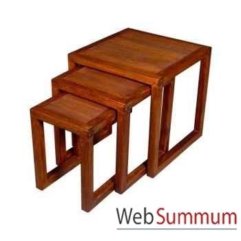 Petites tables striés à mettre en bout de canapé, set de 3 Meuble d'Indonésie -53974
