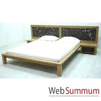 Lit avec tête de lit tressée Meuble d'Indonésie -56673