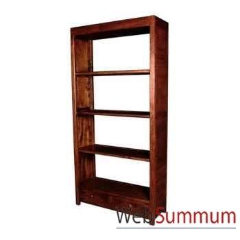 Bibliothèque avec 2 tiroirs strié surmonté de 3 tablettes Meuble d'Indonésie -53937