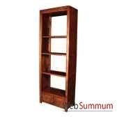 bibliotheque avec 2 tiroirs strie surmonte de 3 tablettes meuble d indonesie 53938