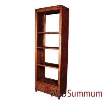 Bibliothèque avec 2 tiroirs strié surmonté de 3 tablettes Meuble d'Indonésie -53938