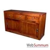 buffet avec 2 portes coulissantes et 3 tiroirs en bois cire meuble d indonesie 56762ci