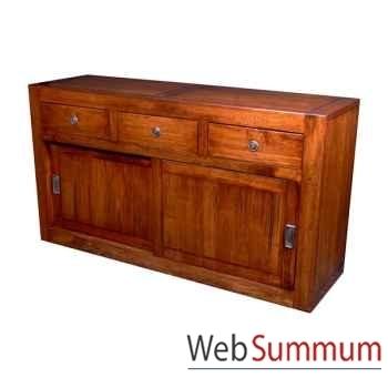 Buffet avec 2 portes coulissantes et 3 tiroirs en bois ciré Meuble d'Indonésie -56762CI