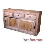 buffet avec 2 portes coulissantes 3 tiroirs en bois naturemeuble d indonesie 56762nv