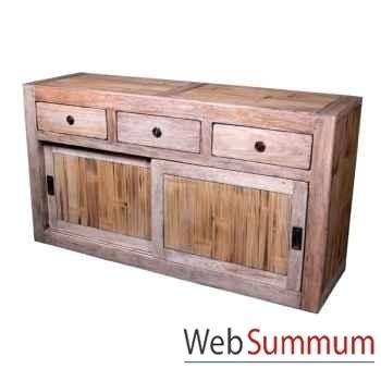Buffet avec 2 portes coulissantes 3 tiroirs en bois naturel Meuble d'Indonésie -56762NV