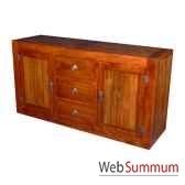 buffet avec 2 portes et 3 tiroirs en bois cire meuble d indonesie 56767ci