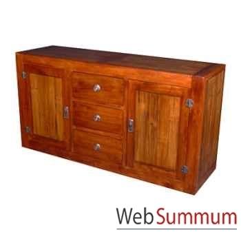 Buffet avec 2 portes et 3 tiroirs en bois ciré Meuble d'Indonésie -56767CI