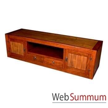 Buffet bas avec 2 portes, 2 tiroirs et 1niche en bois ciré Meuble d'Indonésie -56769CI
