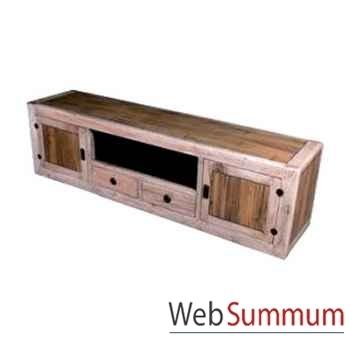 Buffet bas avec 2 portes, 2 tiroirs et 1niche en bois naturel vieilli Meuble d'Indonésie -56769NV