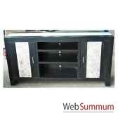 buffet tv avec 2 portes et 3 niches fabrique en indonesie meuble d indonesie 57005