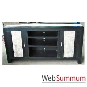 Buffet TV avec 2 portes et 3 niches fabriqué en Indonésie Meuble d'Indonésie -57005