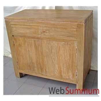 Buffet avec 2 portes et 2 tiroirs en bois naturel Meuble d'Indonésie -57050