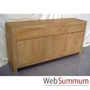 Buffet avec 3 portes et 3 tiroirs en bois naturel Meuble d'Indonésie -57051