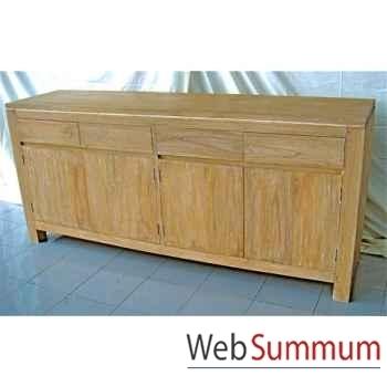 Buffet avec 4 portes et 4 tiroirs en bois naturel Meuble d'Indonésie -57052