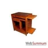bureau ordinateur avec 1 tiroir et 3 niche strie meuble d indonesie 53944