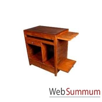 Bureau ordinateur avec 1 tiroir et 3 niche strié Meuble d'Indonésie -53944