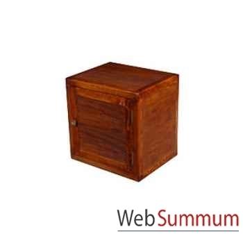 Cube 1 porte strié Meuble d'Indonésie -53959