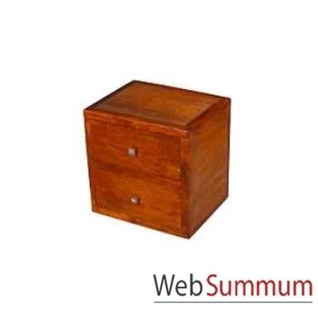 Cube avec 2 tiroirs strié Meuble d'Indonésie -53961