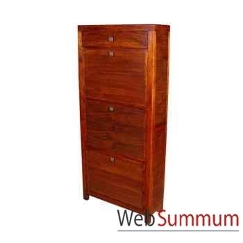 Meuble à chaussures 3 casiers 1 tiroir en bois strié Meuble d'Indonésie -53967