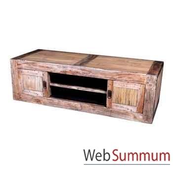 Meuble bas avec 4 portes coulissantes en bois vieilli deauville Meuble d'Indonésie -56780NV