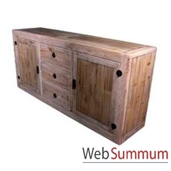 Buffet avec 2 portes et 3 tiroirs en bois naturel vieilli Meuble d'Indonésie -56781NV