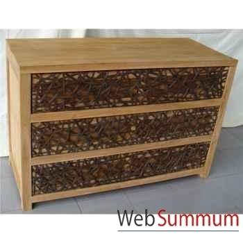 Commode bois avec 3 tiroirs tressés Meuble d'Indonésie -56676