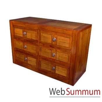 Commode fabriqué en Indonésie avec 6 tiroirs en bois ciré Meuble d'Indonésie -56772CI
